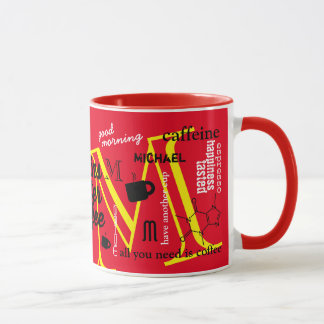 personalized name M caffeine collage red Mug