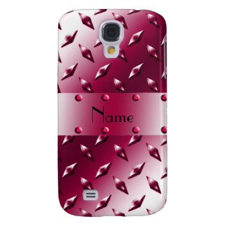 Personalized name magenta diamond plate steel samsung galaxy s4 case