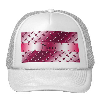 Personalized name magenta diamond plate steel hats