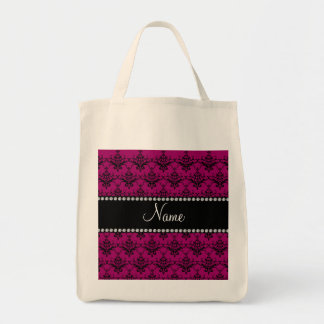 Personalized name Magenta pink black damask Bag