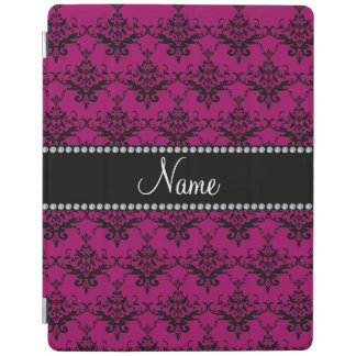 Personalized name Magenta pink black damask iPad Cover