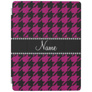 Personalized name magenta pink black houndstooth iPad cover