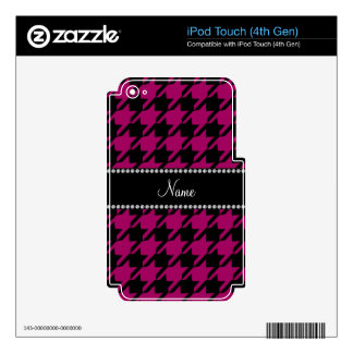 Personalized name magenta pink black houndstooth decals for iPod touch 4G
