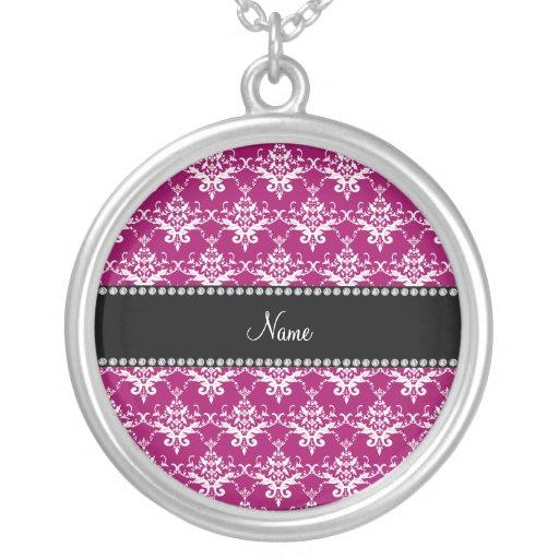 Personalized name magenta pink damask pendants