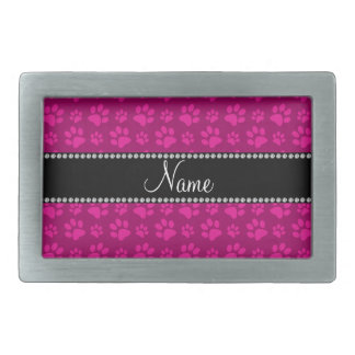 Personalized name magenta pink dog paw prints rectangular belt buckle