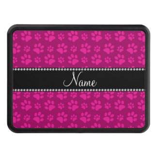 Personalized name magenta pink dog paw prints hitch cover