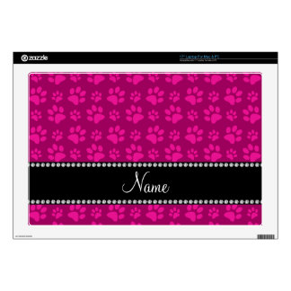 Personalized name magenta pink dog paw prints decal for laptop