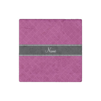 Personalized name magenta pink grid pattern stone magnet