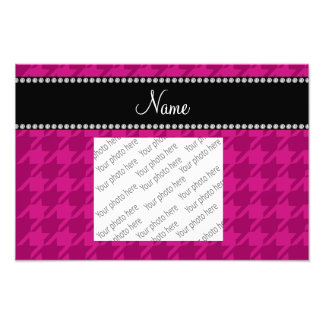 Personalized name magenta pink houndstooth photo print