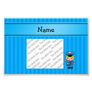 Personalized name mailman blue stripes art photo