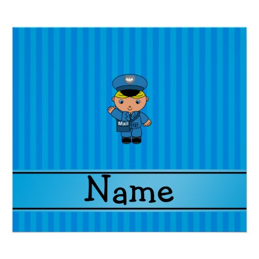Personalized name mailman blue stripes poster zazzle for Personalized last name university shirts