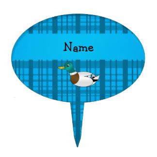 Personalized name mallard duck blue plaid cake pick