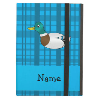 Personalized name mallard duck blue plaid case for iPad air