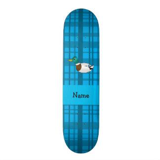 Personalized name mallard duck blue plaid skateboard deck