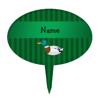 Personalized name mallard duck green stripes cake toppers