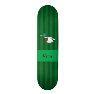 Personalized name mallard duck green stripes custom skateboard