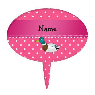 Personalized name mallard duck pink polka dots cake picks