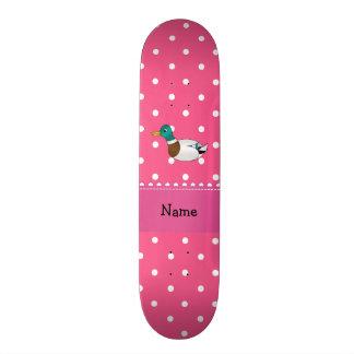 Personalized name mallard duck pink polka dots custom skateboard