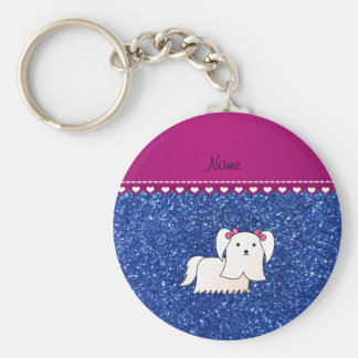 Personalized name maltese blue glitter basic round button keychain