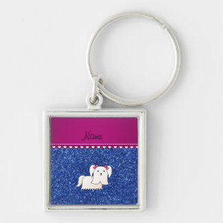 Personalized name maltese blue glitter Silver-Colored square keychain