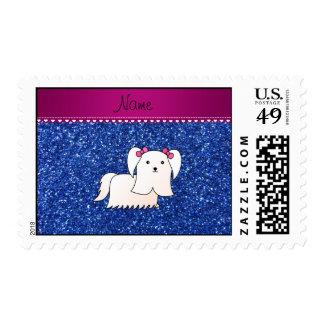 Personalized name maltese blue glitter stamp