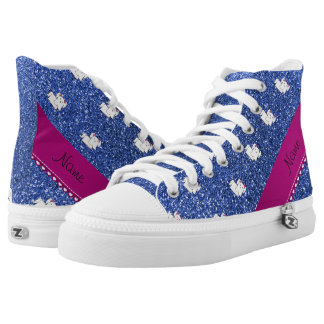 Personalized name maltese blue glitter printed shoes