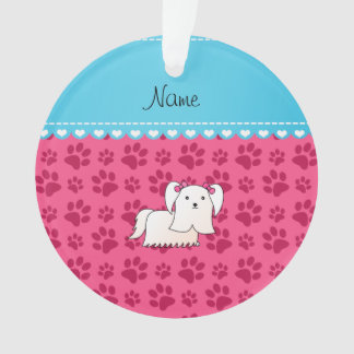 Personalized name maltese pink dog paws