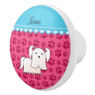 Personalized name maltese pink dog paws ceramic knob