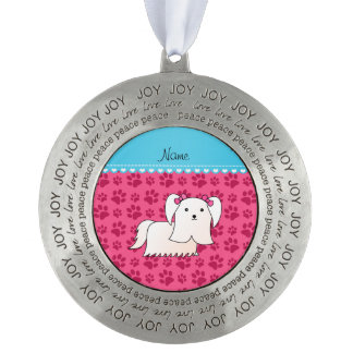 Personalized name maltese pink dog paws round pewter christmas ornament