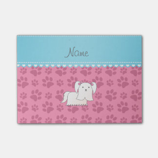 Personalized name maltese pink dog paws post-it® notes