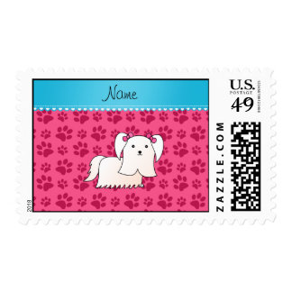 Personalized name maltese pink dog paws postage stamp