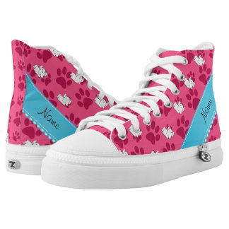 Personalized name maltese pink dog paws printed shoes