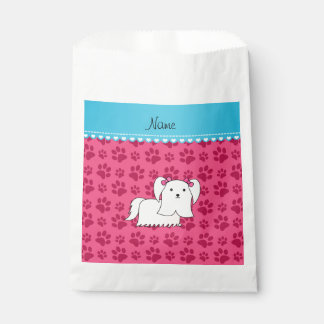 Personalized name maltese pink dog paws favor bags
