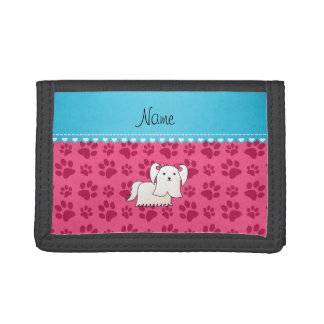 Personalized name maltese pink dog paws trifold wallets