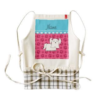 Personalized name maltese pink dog paws zazzle HEART apron