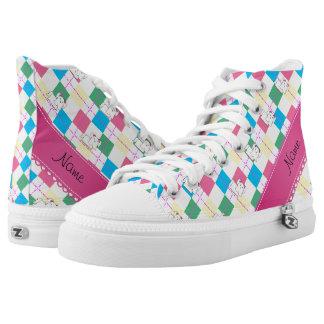 Personalized name maltese rainbow argyle printed shoes