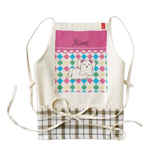 Personalized name maltese rainbow argyle zazzle HEART apron