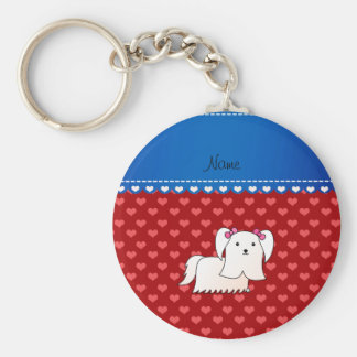 Personalized name maltese red hearts basic round button keychain