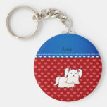 Personalized name maltese red hearts key chains