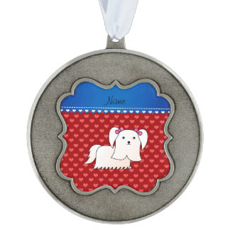 Personalized name maltese red hearts scalloped pewter christmas ornament