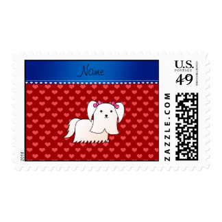 Personalized name maltese red hearts stamp