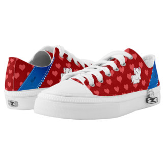 Personalized name maltese red hearts printed shoes