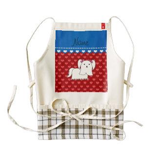Personalized name maltese red hearts zazzle HEART apron