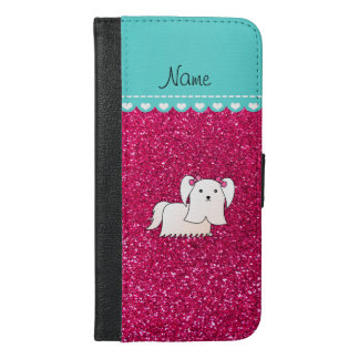 Personalized name maltese rose pink glitter iPhone 6/6s plus wallet case