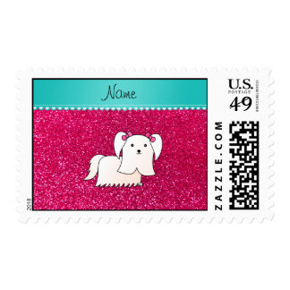 Personalized name maltese rose pink glitter postage