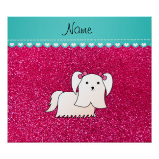 Personalized name maltese rose pink glitter poster