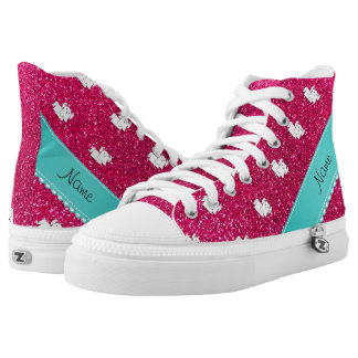 Personalized name maltese rose pink glitter printed shoes
