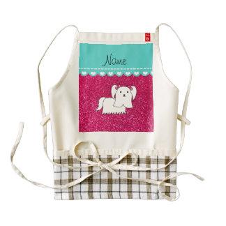 Personalized name maltese rose pink glitter zazzle HEART apron