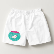 Personalized name maltese seafoam green leopard boxers