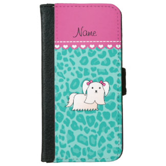 Personalized name maltese seafoam green leopard iPhone 6 wallet case